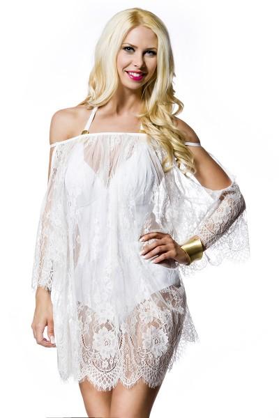 Weißes transparentes Minikleid aus Spitze mit Kimonoärmel und Blumenmuster Strandkleid