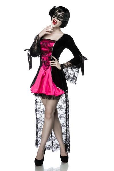 Damen Gothic Vampir Kostüm Verkleidung Komplettset aus Kleid mit Maske OneSize