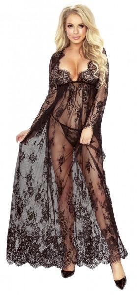 Langes Frauen Dessous Nacht Kleid Chemise transparent erotisch schwarz aus Netz und Spitze mit Strin