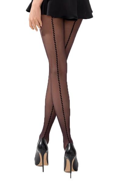 Damen Strumpfhose erotisch schwarz transparent mit Muster 20 DEN