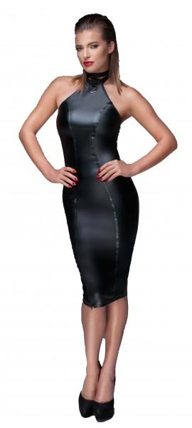 Elegantes fetisch Damen wetlook Bleistift-Kleid Abendkleid in schwarz Neckholder Kleid mit Reißversc