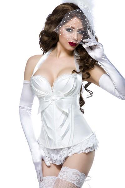 Weiße Dessous Burlesque Satin-Corsage mit Rüschen, Cups und Schnürung