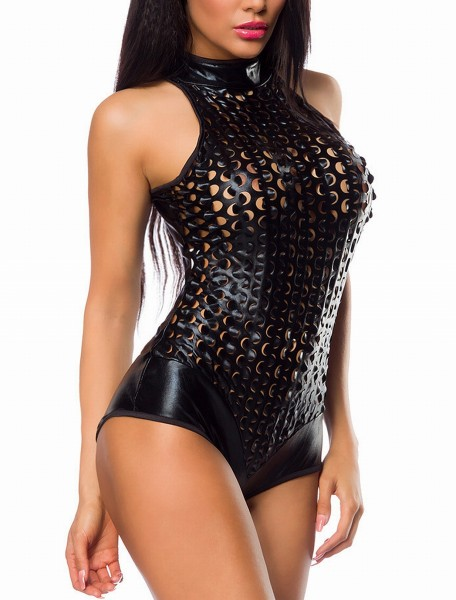 Enger Damen Wetlook Body mit Löchern Neckholder Metallic Cutouts S
