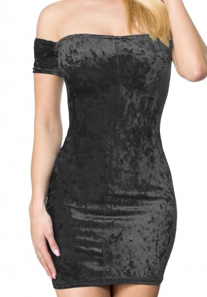 Schwarzes kurzes Samtkleid mit Carmenausschnitt und Schlitz im Rückteil sowie Gummizug Schulterfrei