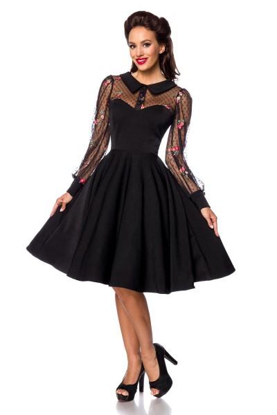 Schwarzes knielanges Swing Kleid im High Waist Schnitt mit Netz Blumenstickerei und Herz-Ausschnitt