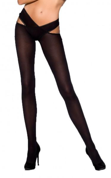 Schwarze Damen Dessous business Strumpfhose elastisch transparent mit Bänder