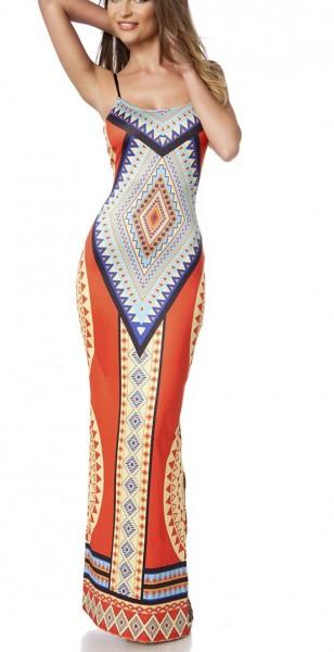 Maxikleid luftig Damen Sommerkleid in bunt mit Muster Paisley-Design zum schnüren hochgeschlitzt Kle