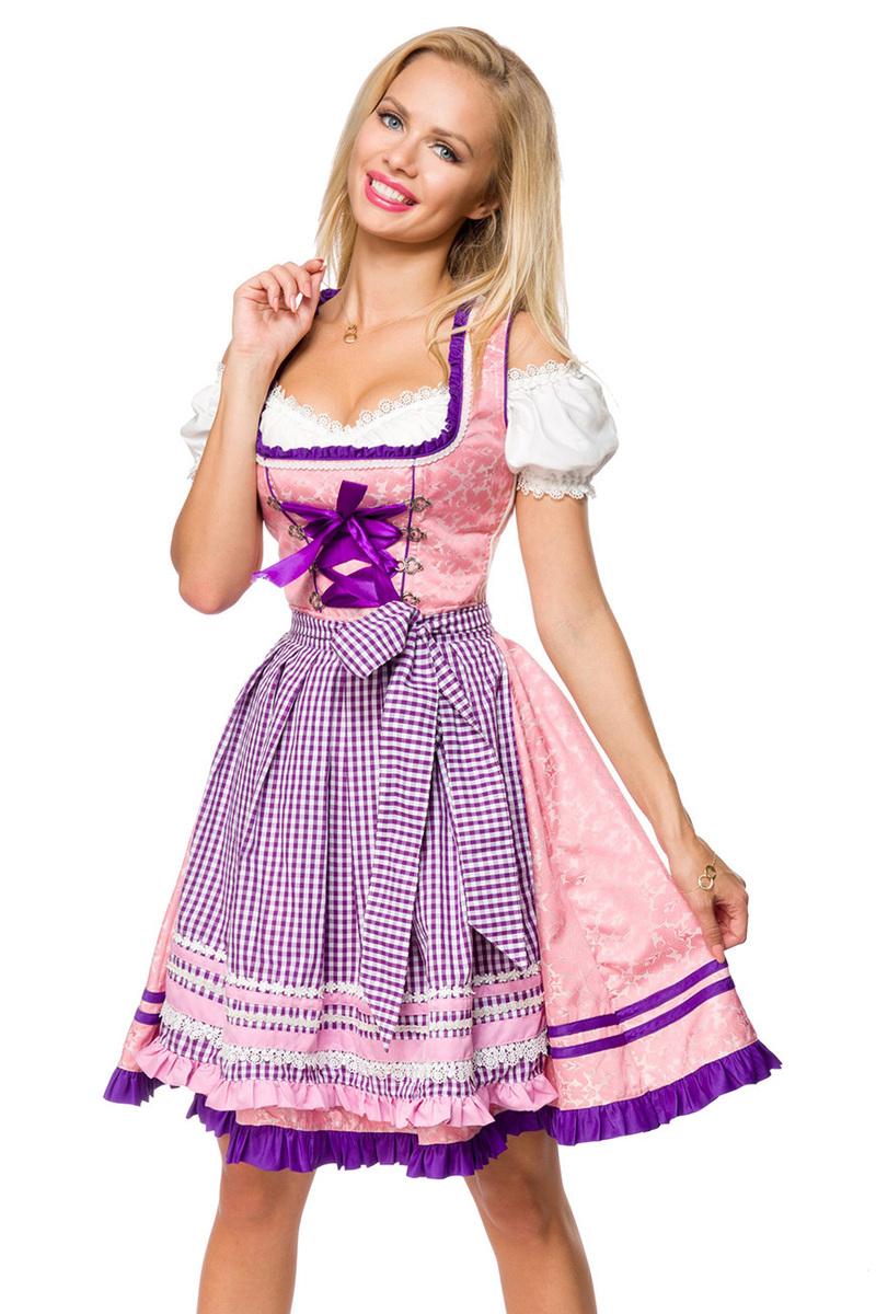 Dirndl Kleid Kostüm mit Herzausschnitt Schleife Schnürung ...