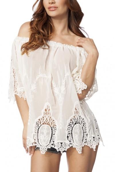 Weiße transparente Hippie-Tunika mit transparenten Spitzeneinsätzen und Carmenausschnitt luftiges St
