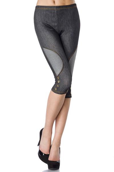 Capri Jeans Leggings mit hellen Einsätzen und Zierknöpfen kurze Leggings