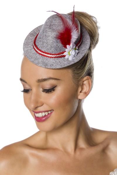 Grau Roter Damen Minihut Filzhut Trachtenhut mit Kordel Blumen und Federn Oktoberfest Verkleidung Fa