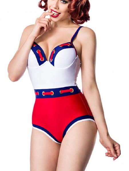 Damen Vintage Badeanzug Formbügel im Marine-Look rot weiß mit Ösen und Band vorn Rückenfrei