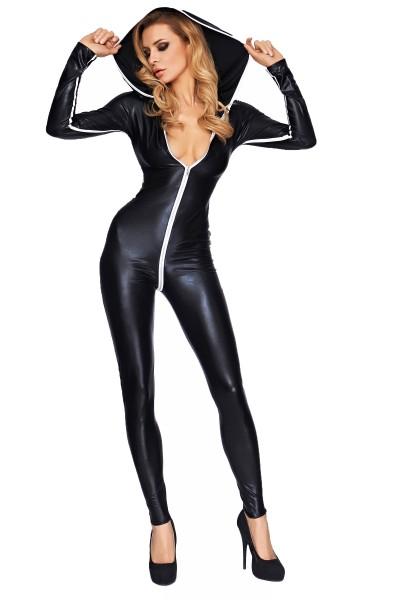 Damen Dessous Gogo Wetlook Catsuit in schwarz weiß dehnbar mit Reißverschluss und Kapuze Overall Bod