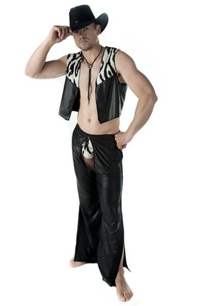 Sexy 3-teiliges Männer Dessous wetlook Cowboy-Set Kostüm aus String, Weste und Chaps Hose