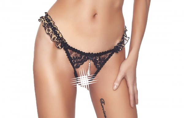 Schwarzer Damen Dessous Reizwäsche Spitzen String ouvert aus Tüll und Gummibänder