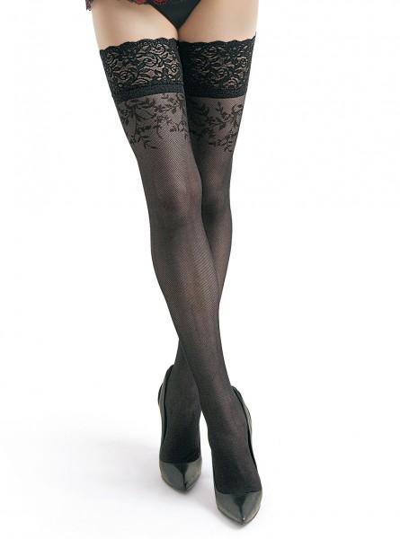 Damen Dessous halterlose Strümpfe aus Netzstoff mit Spitze in schwarz Stockings mit Silikonstreifen