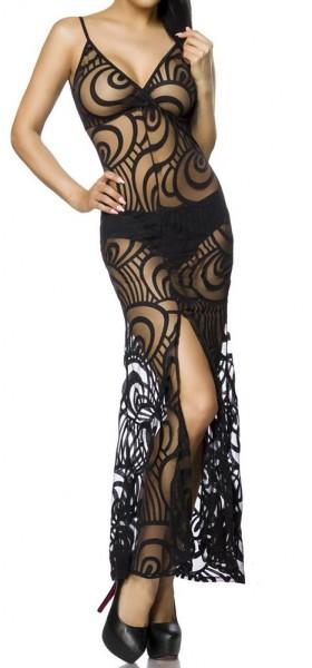 Schwarzes langes transparentes Abendkleid mit Organischemmuster und V-Ausschnitt Beinschlitz