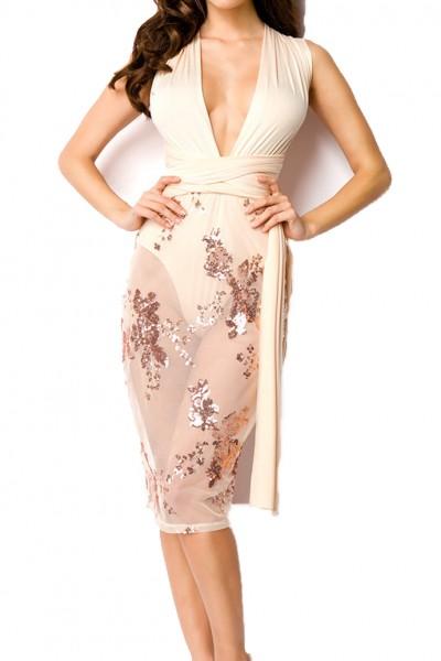 Beiges teiltransparentes Kleid mit Beigeen Pailletten tiefer V-Ausschnitt und zum binden