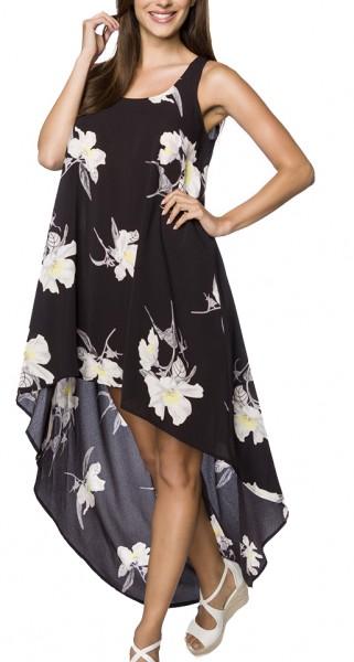 Kurzes schwarzes Sommerkleid mit Rundhalsausschnitt und Blumendruck Muster asymmetrisch geschnitten