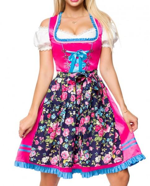 Dirndl Kleid Kostüm mit Herzausschnitt Schleife Schnürung und Schürze aus Blumenmuster Stoff und Spi