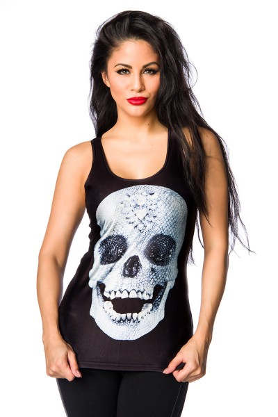 Schwarzes Damen Totenkopf Top mit Totenkopf Print Fotoprint Faschingsverkleidung Outfit