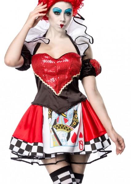 Damen Red Queen Kleid Kostüm Verkleidung mit Top, Rock, Puffärmel, Strümpfe mit Herz Muster Paillett