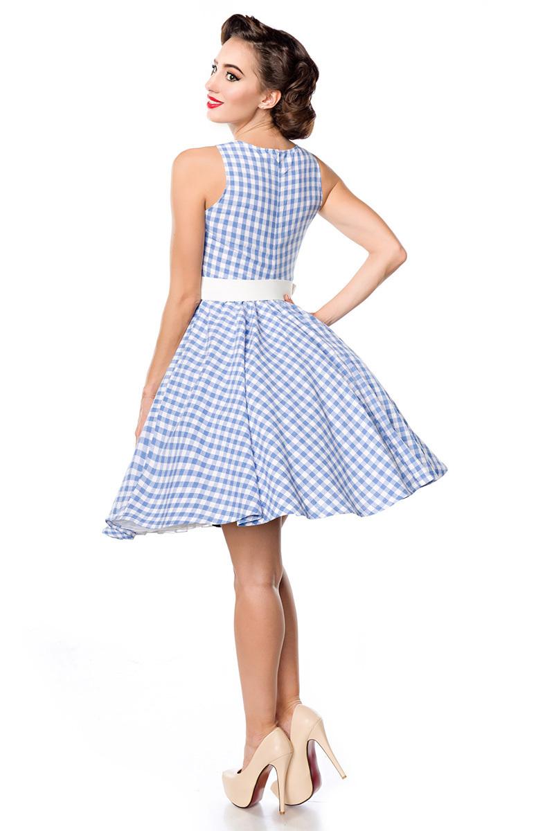 Blaues kurzes Swing Kleid im High Waist Schnitt mit Gürtel ...