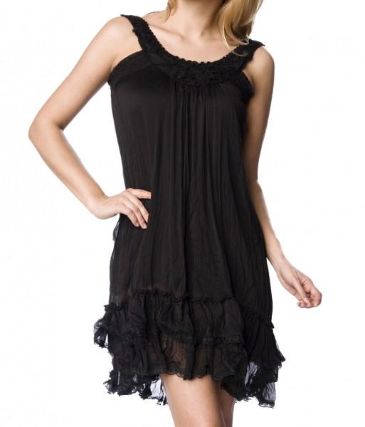 Luftiges Sommerkleid mit Träger Strandkleid mit Bündchen und Verzierung S/M