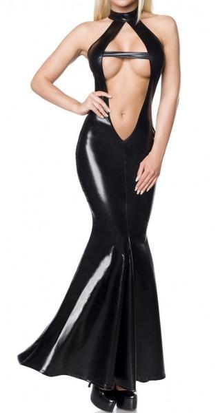 Schwarzes langes Wetlookkleid mit tiefem Ausschnitt Neckholder Reißverschluss hinten Meerjungfrau Sc