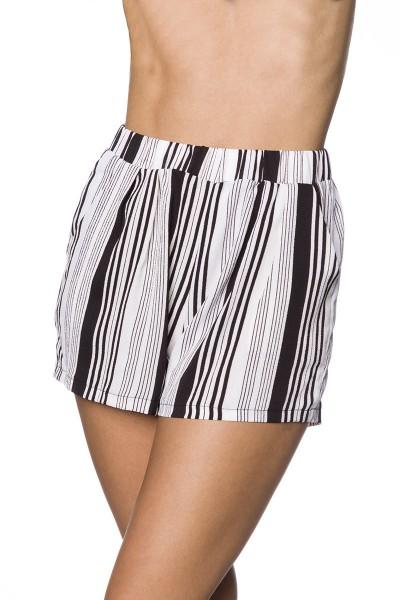 Schwarze weite Shorts mit buntem Streifendruck weite Schlupfhose mit Eingriffstaschen Crepe Stoff