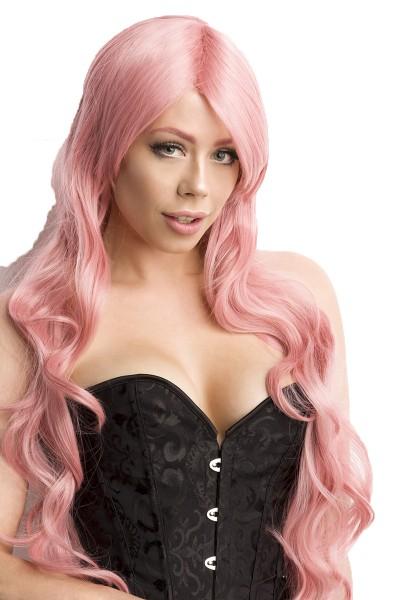 Rosa Damen Langhaar Perücke Wig mit gewelltem Haar langes Pony Perücke Verkleidung