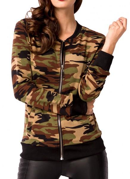 Tarn-farbene kurze Damen Jacke mit Rippbündchen Reißverschluss vorn Leistentaschen vorn Camouflage