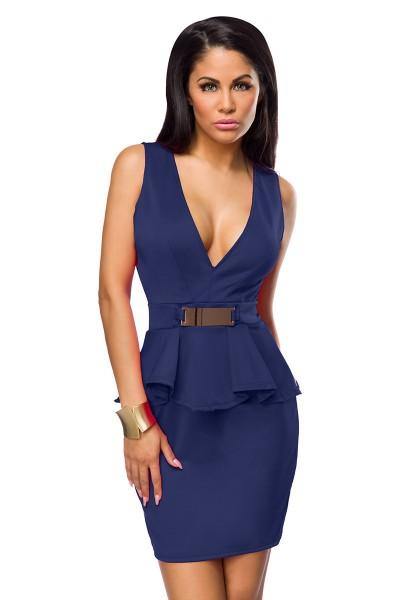 Blaues Partykleid knielang mit V Ausschnitt, Falten und Zierschnalle elegantes Damen Abendkleid