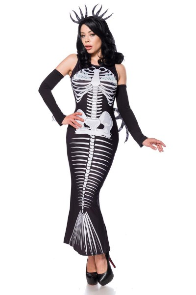 Damen Meerjungfrau Outfit Kostüm aus Skelett Kleid mit Fischflosse Haarreif und Armstulpen Halloween