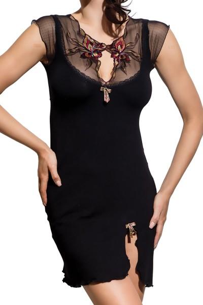 Schwarzes Damen Dessous Nachtkleid Negligee blickdicht dehnbar mit Tüll und Verzierung