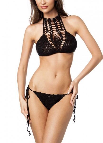 Damen Häkel Bikini Neckholder Top und Slip zum binden in schwarz OneSize XS-M dunkel Bademode