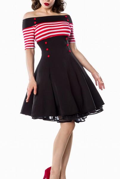 Schulterfreies Damen Vintagekleid mit weiß roten Streifen und roten Knöpfen im Marine Look ausgestel