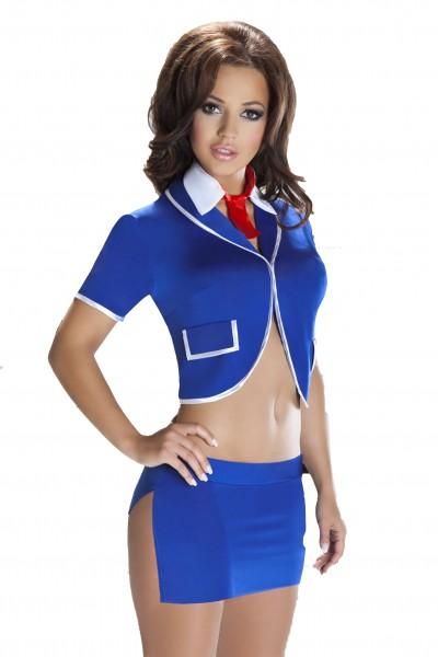 Knappes Dessous Sekretärin Kostüm Outfit aus Bolero, Minirock, Kragen und String in blau Unterwäsche