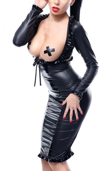 Damen Dessous fetisch wetlook Rock und Jacke Set in schwarz dehnbar mit Reißverschluss und Brust-Aus