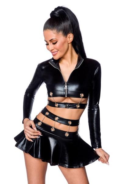 Erotisches Damen Kettenoutfit aus Jacke, Minirock und Ösen in wetlook schwarz Dessous Set elastisch