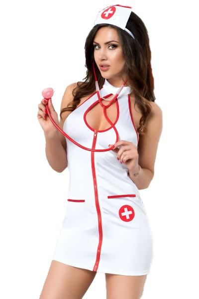 Erotisches Krankenschwester Nurse Dessous Set aus Kleid, Strümpfe, String, Haube und Stethoskop
