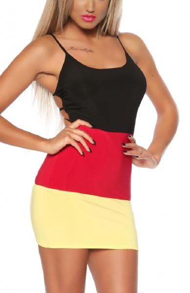 Damen Sommerkleid in schwarz rot gold Deutschland Flagge luftiges Minikleid Strandkleid EM 2016