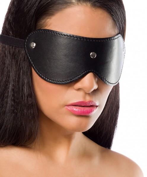 Schwarze Damen Augenmaske aus Kunstleder mit Nieten SM Augenbinde