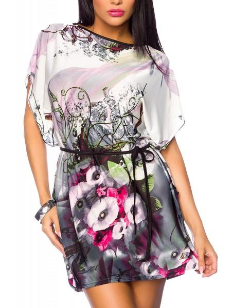 Bunte Damen Tunika mit Blumenmuster weit geschnitten mit angeschnittenen Ärmeln