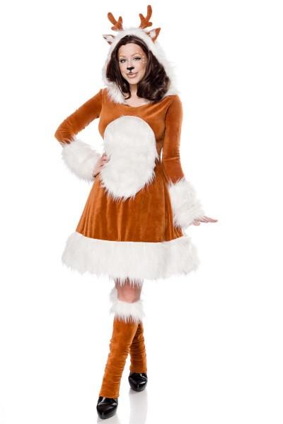 Braun weißes Damen Reh Rentier Kostüm aus Kleid Haareif, Strümpfe und Schwänzchen mit Samt und Kunst