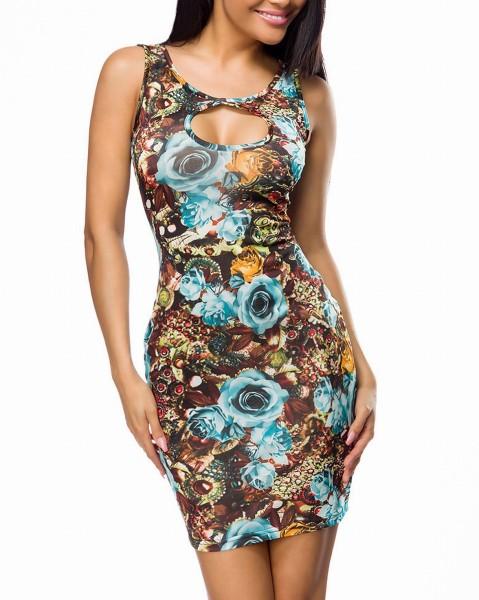 Buntes enges Minikleid mit Rosenmuster Print und rundem Ausschnitt sowie Rückenausschnitt Größe M