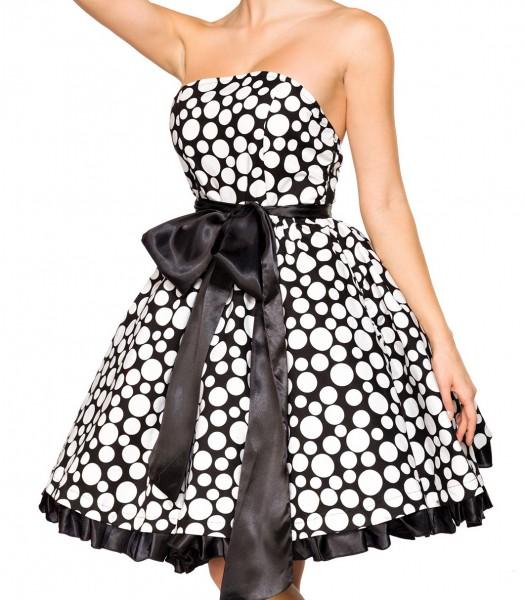 Kurzes Swing Kleid im High Waist Schnitt mit großer separater Satinschleife und Tellerrock weiß gepu