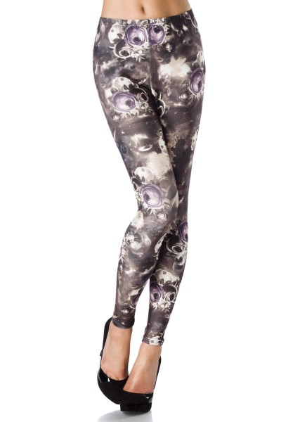 Damen Leggings mit Rosenmuster blickdicht Blumenmotiv Leggings