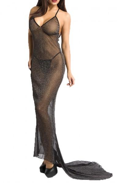 Langes schwarzes Neckholder Netzkleid mit Schleppe aus Netz und silbernem Effektgarn transparent Sch