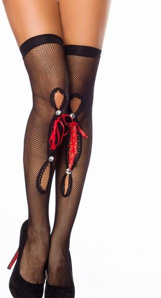 Schwarze halterlose Strümpfe mit roter Zierschleife aus Satin und Strasssteinen sowie Cutouts Stocki